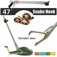 """Collapsible Stainless Snake Catcher & Handling Tool w/ Serrated Wide Jaw 47"""""""