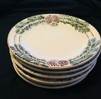 Set Of 6 - NEW Ambiance VINTAGE PINE Dessert Salad Plate 8-1/4""