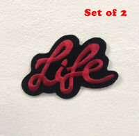 Life Art Red Badge Clothes Iron on Sew on Embroidered Patch Set of 2