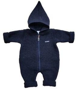 Baby-Overall Wollwalk Wollanzug Dunkelblau mit Kapuze-Trocadero warm handgemacht