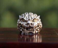 China Miao Jewelry Silver Handwork Flexible Caliber Foo Dog Lion Finger Ring 2#