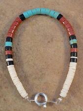 Santo Domingo Rolled Pipestone Turquoise Jet & Shell Bracelet