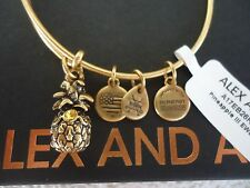 Alex and Ani PINEAPPLE III Russian Gold Charm Bangle New W/Tag Card & Box