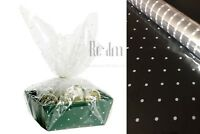 White Doted Clear Cellophane Wrapping Gift Paper   Wedding Birthday Hampers Wrap