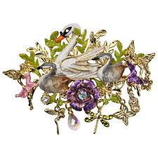 NEW KIRKS FOLLY FAIRYLAND SWANS PIN / ENHANCER GOLDTONE  ~~DANGLING CHARMS~~