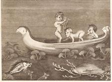 NANI IN BARCA - Incisione Originale 1700 - Ercolano Pompei Dwarf Pompeii
