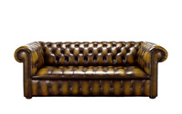 Chesterfield Edwardian 3 Seater Buttoned Seat Antique Gold Leather Sofa