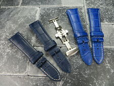 20mm Grain Leather Strap Brush Folding Buckle Watch Band Set LONGINES Blue