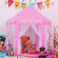 Girls Pink Princess Castle Cute Playhouse Children Play Tent W/ String Lights