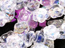 Vtg 50 CRYSTAL AB BUTTON FLOWER SPACER GLASS BEADS BIG 7 mm #092612c
