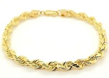 "14k Yellow Gold Diamond Cut Rope Chain Bracelet 7"" 6mm - 17 grams"