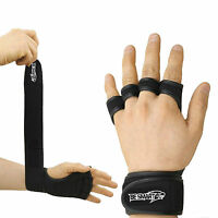 GYM LEATHER WEIGHT LIFTING PADDED GLOVES FITNESS TRAINING BODY BUILDING STRAPS