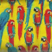 One of a Kind yellow orange parrots Windham fabric