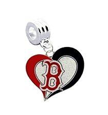 I LOVE BOSTON RED SOX BASEBALL CHARM SLIDE PENDANT NECKLACE EUROPEAN BRACELET