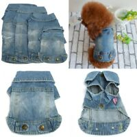 Pet Dog Blue Jeans Denim Cute Cat Puppy Coat Jacket Clothes Costume Apparel Lot