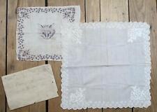 Vintage Antique Wedding Bridal & Cat Handkerchief Pair Embroidery Lace Victorian