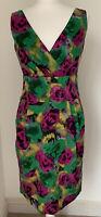 Stunning Hobbs London Pink Green & Yellow Rose Pencil Dress UK 10 *See Details*