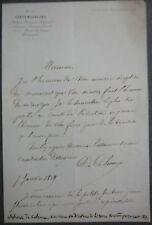 Alphonse de Calonne. Revue contemporaine. Remerciement Manuscrit. 1859.