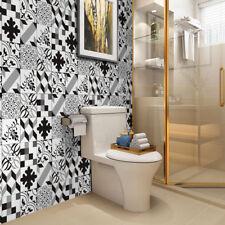 25 Pcs Black Grey White Self-adhesive Bathroom Kitchen Wall Floor Tile Sticker