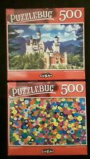 PUZZLEBUG 500 piece jigsaw puzzle - (Lot of 2) Colorful Buttons Castle
