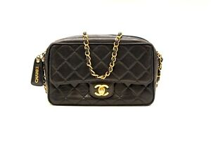 AUTHENTIC CHANEL BLACK QUILTED SINGLE FLAP HANDBAG PURSE