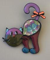 Adorable  Cat  large Brooch Pin in enamel on Metal