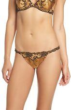 New Women's LISE CHARMEL Gold ACC0580 Splendeur Soie Lace String Thong size L
