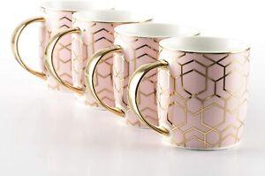 Waterside - 4 Piece Tallulah Pink & Gold Mug Set