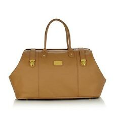JOY Leather Designer Weekender Bag & Smart Bag with RFID-Protected 3 Piece Camel