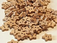 20 Tiny Stars Wooden Craft Buttons. 10mm.