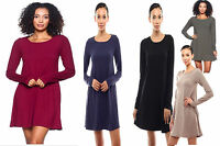 Trapeze Scoop Neck Dress Long Sleeve Solid Top Tunic Mini Piko Flowy