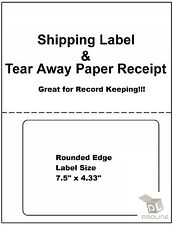 200 Adhesive Labels w/ Tear off Paper Receipt. Shipping Labels / Ebay and Paypal