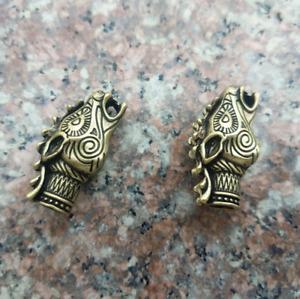 2 pcs Dragon Viking DIY Bead Lanyard EDC Pendant Knife Beads Hanging Keychain
