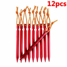 12Pcs Titanium Alloy Tent Nail Pegs Stakes With Rope Lightweight Camping Outdoor