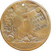 Mexico 1934 Bronze Medal 50th Anniversary of Banco Nacional de Mexico. Scarce