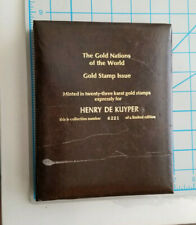 Vintage Gold Nations of the World 23kt Gold Stamp Calhoun's Collection Album