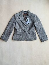 Per Una M&S 16 £59 Smart Fitted Jacket Brown Cotton Wool Floral Blazer