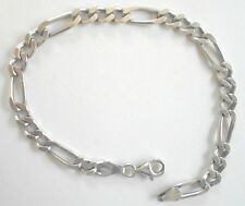 """Sterling Silver 8"""" Figaro Bracelet  Stamped Italy 925 Marked SU  6mm"""