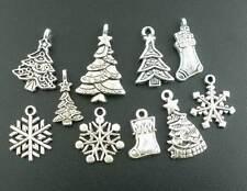 160Pcs New Mixed Silver Tone Christmas Motif Charms Pendants