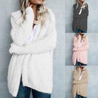 Women's Long Sleeve Knitted Fluffy Coat Cardigan Sweater Casual Outwear Jacket
