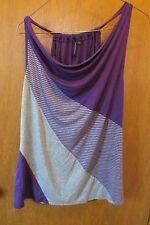 Susan Lawrence Women's Sleeveless Knit Top Blouse, Sz L , purple & grey