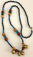 """Vintage 24"""" Beaded Strand Necklace~Stone Wood Plastic Blue & Multi Color Beads"""