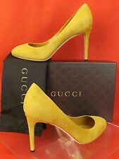 NIB GUCCI CITRUS SUEDE INTERLOCKING JENNIFER HIGH HEEL CLASSIC PUMPS 37.5 7.5