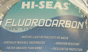 HI-SEAS 100% FLUOROCARBON LEADER LINE CLEAR 100 LB - 400 LB - 25 YARDS - COIL