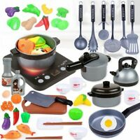 Kitchen Play Kids Set Toy Pretend Cooking Food Role Toys Gift Playset Cookware!