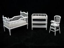 Nursery Baby Room Set white dollhouse miniature furniture 1/12 scale T5545 3pc