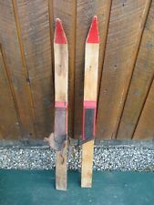 """VINTAGE Wooden 37"""" Skis with Red Tip Finish"""