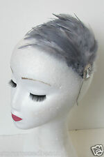 Silver Dark Grey Feather Headpiece 1920s Flapper Fascinator Vintage Headband P56