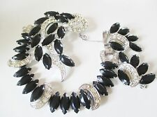 VINTAGE SARAH COVENTRY  VIENNA BLACK & CLEAR Bracelet, BROOCH  EARRING Set-4