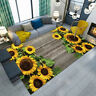 Rustic Wood Board Sunflowers Soft Area Rugs Bedroom Carpet Living Room Floor Mat